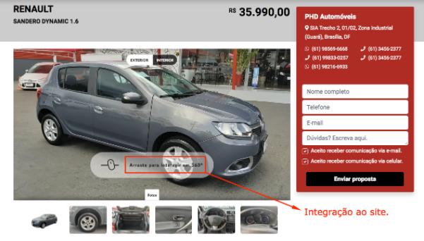 Auto360 oferece integração direta para os cards de veículos em seu site.